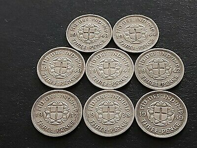 8 x George VI SILVER THREEPENCE 3d COINS, date run 1937 to 1944