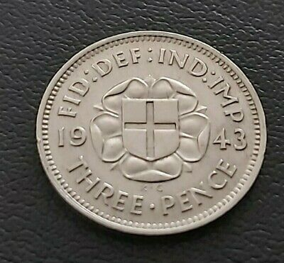 1943 George VI SILVER THREEPENCE 3d COIN