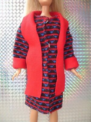 Vintage Sindy Barbie Doll Clothes - Red Blue Black Soft Coat Jacket with Scarf