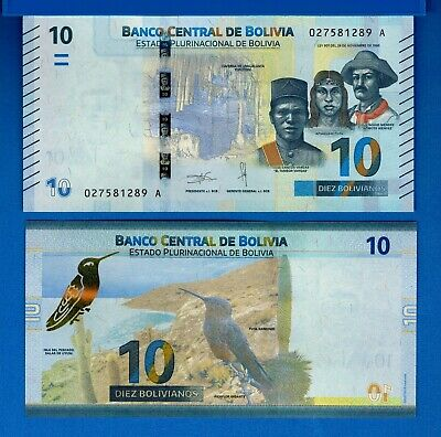 Bolivia P-New 10 Bolivianos Year ND 2018 Bird People Uncirculated Banknote