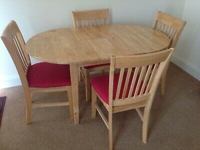 pine dining table expandable with 4 chairs