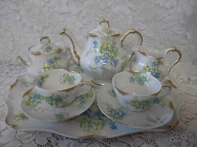 Antique Limoges Breakfast Set Charles Ahrenfeldt 8 Pieces Blue/White Beautif Ul
