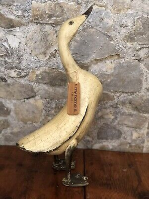 """""""Alison"""" Large Wooden Duck Antique Style Distressed Wood Statue Nametag 18"""" Tall"""
