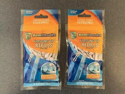 Gumchucks Dental Flossing Tip Refills 2 Packs of 36 Flossing Tips ~ 72 Total