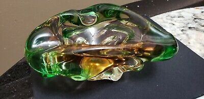 Vintage  Murano Chalet Free Blown Two Color Sommerso Folded Bowl Ashtray