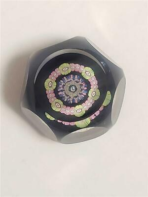 Perthshire Glass faceted Millefiori Paperweight - signed with L Signature cane