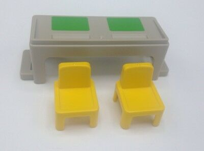 Playmobil Victorian School Classroom Student Desk and 2 Yellow Chairs