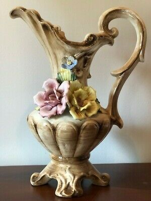 Collectible Vintage Antique Estate ITALIAN CAPODIMONTE Large Footed Pitcher