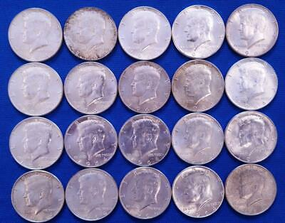 20-1964 US 90% SILVER KENNEDY 50c BU++ roll    L4846