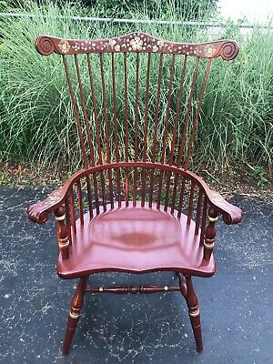 ETHAN ALLEN Hitchcock Stenciled High Back Windsor Style Chancellor's Chair