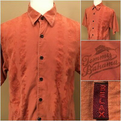 Tommy Bahama Relax Mens Button Front Silk Short Sleeve Shirt Burnt Orange Size L