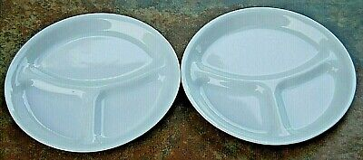 SET OF 2 CORELLE WINTER FROST WHITE DIVIDED DINNER PLATES w/ Free Shipping!