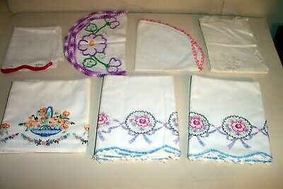 7 Antique Embroidered Pillow Cases Dresser Scarves Table Runner Lot