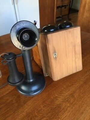Antique WESTERN ELECTRIC Black Candlestick Phone 40AL with Walnut Ringer Box