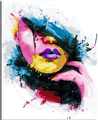 Colorful Girl Face DIY 16x20'' Paint By Number Kit Acrylic Painting On Canvas