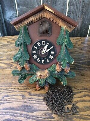 Vintage 8 Day, German, Pine Cone / Leaf, Cuckoo Clock, Parts / Restoration Proje