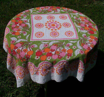 "1960s Flower Power Printed Terrycloth Tablecloth/Pink & Orange Cherries/45""x50"""
