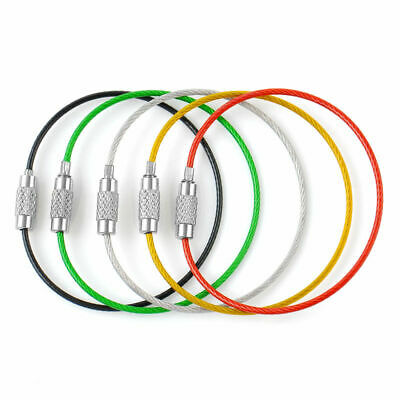 5 packs Stainless Steel Wire Keychain Cable Key Ring Chain Outdoor Hiking