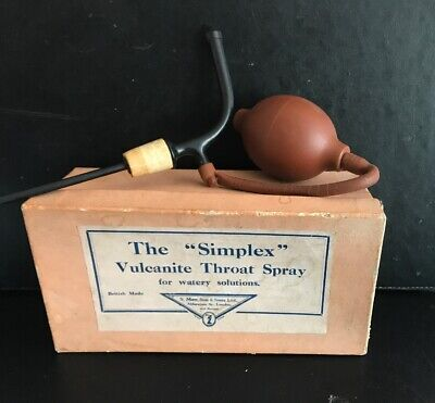 "Vintage ""simplex"" vulcanite throat spray for watery solutions-boxed- A/F"