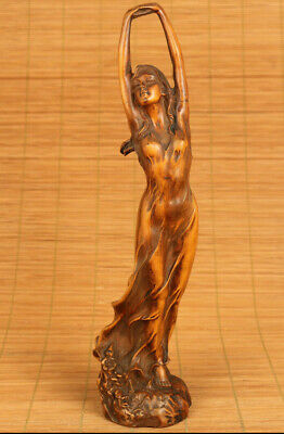 Chinese old boxwood Handcarved enchanting belle statue netsuke table decoration