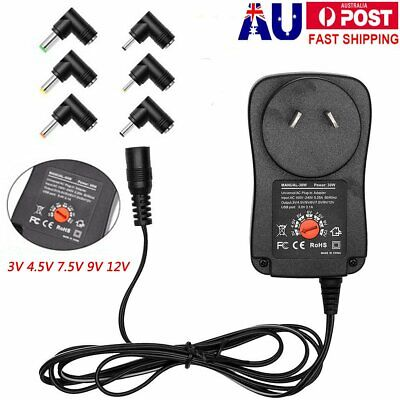 Adjustable Universal Mains AC/DC Power Adaptor Supply Plug Charger  3/4.5//12V