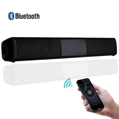 Bluetooth Wireless TV Soundbar 2 Speakers Sound Bar Home Theater Subwoofer RCA