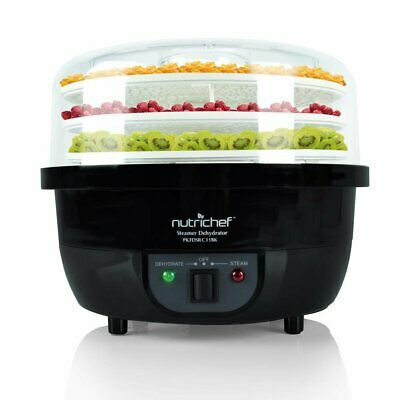 NutriChef PKFDSRC11BK 3-in-1 Kitchen Food Dehydrator & Steamer Cooker - Black