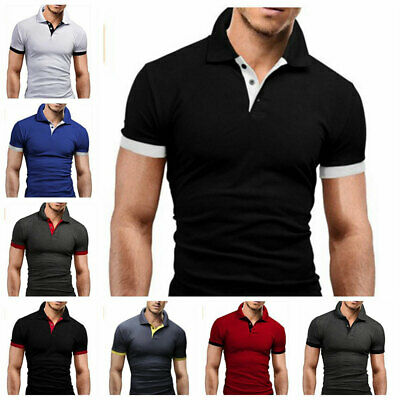 Plus Size Mens Polo Shirt Jersey T Shirts Short Sleeve Slim Fit Casual Hot