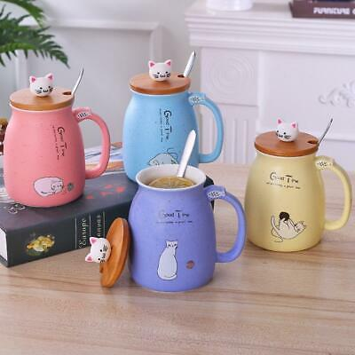 Cute Cat Ceramic Cup Water Mug Coffee Milk Cup Gift With Cover + Spoon 2019h