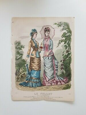 French Le Follet Fashion Plate Hand-coloured Antique Art Prints (set of 4)