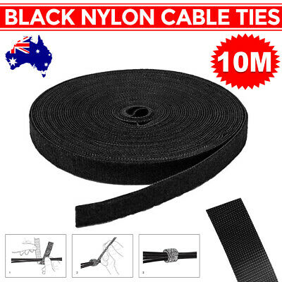 10M Reusable Nylon Strap Hook and Loop Cable PC TV Cord Ties Tidy Organiser AU