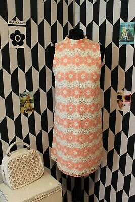 VINTAGE 60s RETRO MOD STYLE HIGH NECK DAISY SHIFT DRESS SIZE 10 UK