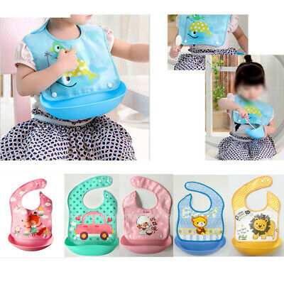 Waterproof Silicone Baby Bib Washable Roll Up Crumb Catcher Feeding Eating Babie