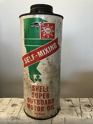 Vintage Shell Super Out Board Motor Oil Tin