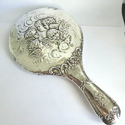 Antique Repousse Silver Hand Mirror  Hm Birmingham 1903 Reyolds Angels Cherubs