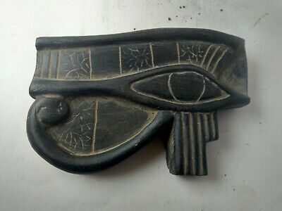 RARE ANCIENT EGYPTIAN ANTIQUES Statue Amulet Eye of Horus Black Stone 1320 Bc
