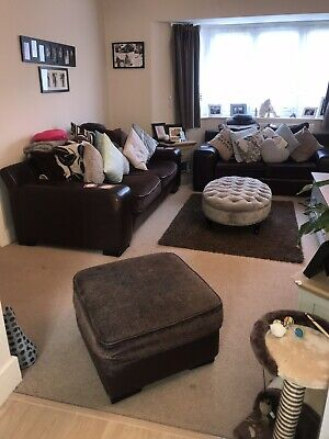 Brown Leather And Material Sofas & Pouffe