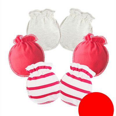 3 Pairs Soft Cotton Baby Anti-scratch Gloves Infant Newborn Handguard Mittens KS