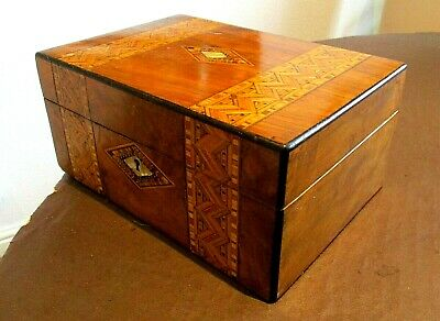 Victorian Walnut Sewing/Jewellery Box,Tunbridge Bands,Tray,Marble Lined Inter'r.