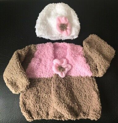 Baby Girls Hand Knitted Newborn Cardigan And Bonnet