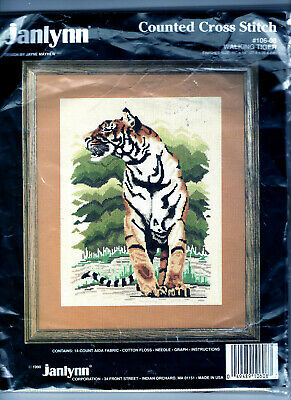 Walking Tiger Janlynn LARGE Counted Cross Stitch Kit FREE P&P (UK)