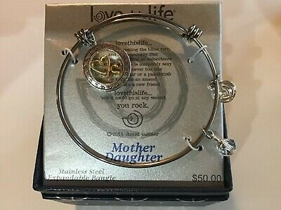 Love This Life MOTHER DAUGHTER Bracelet SILVER PLATED SS Expand Bangle $50 NIB