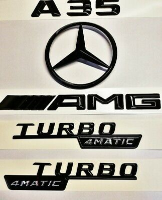 Mercedes A-Class W177 Gloss Black Amg+A35+Star Badge+4Matic Wing Badges 2018-19