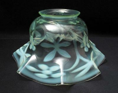 Antique Uranium Vaseline Opalescent Green Glass Oil Lamp Light Shade Art Nouveau