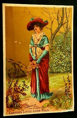 CARTERS LITTLE LIVER PILLS Trade Card ES GREGORY White Plains NY Beautiful Woman
