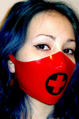 100% Latex Maske Rubber Hood Black and Red Half Face Headgear Mask Size S-XXL