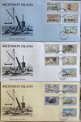 Ascension Island - Complete Set Of 15 Ships On 3 X First Day Covers 1986