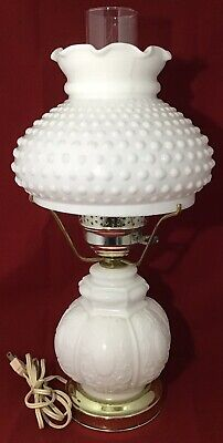 White Milk Glass Hobnail Cameo Three Way Lamp GWTW Shabby Chic Cottage