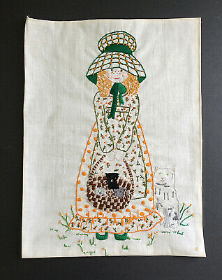 "Completed Holly Hobbie Embroidery with Kittens in a Basket & Cat Large 13"" X 18"""