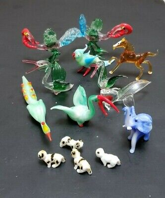 Lot Of  Blown Glass Miniature Birds And Animals Murano Style